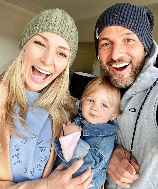 Anna Heinrich with her husband, Tim Robards, and their baby daughter Elle.