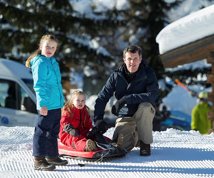 The girls loved ski trips too! Princesses Isabella and Josephine are seen here setting up for a sled ride with Frederik.
