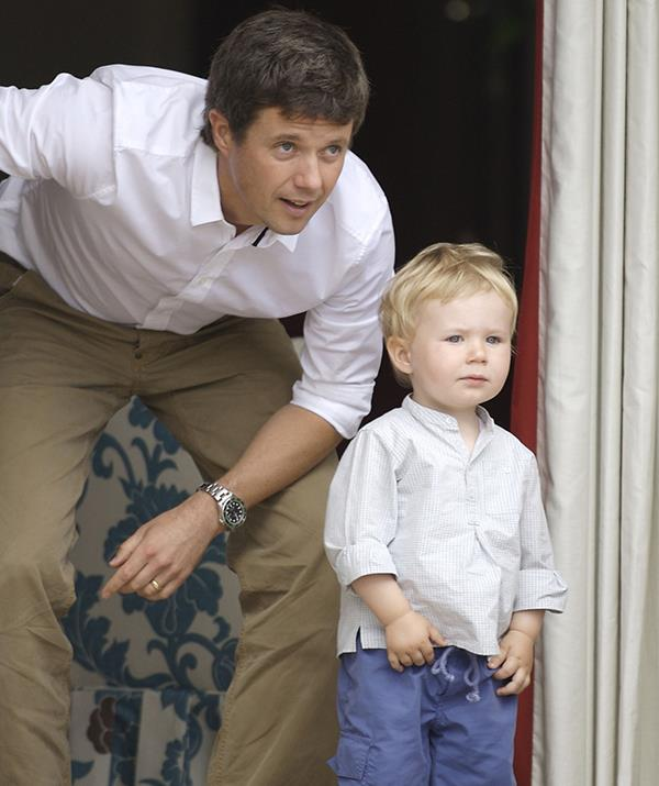 Of course, Frederik stayed close to Christian as the young prince got used to being a big brother for the first time.