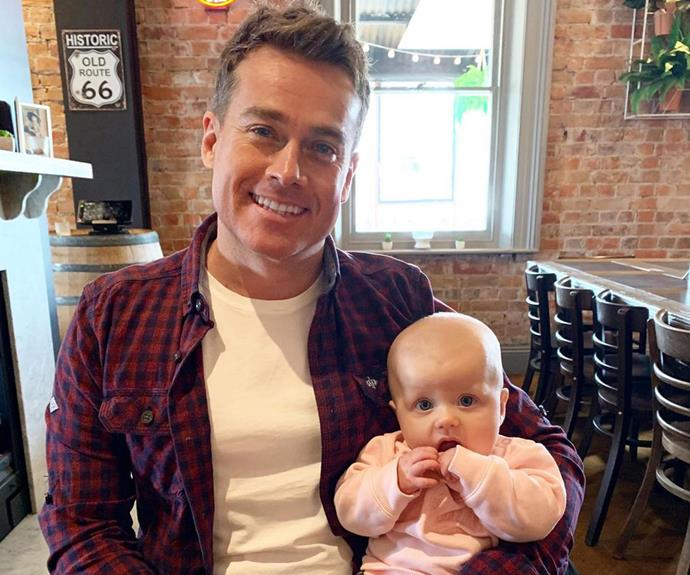 Proud dad Grant Denyer with his daughter Sunday.