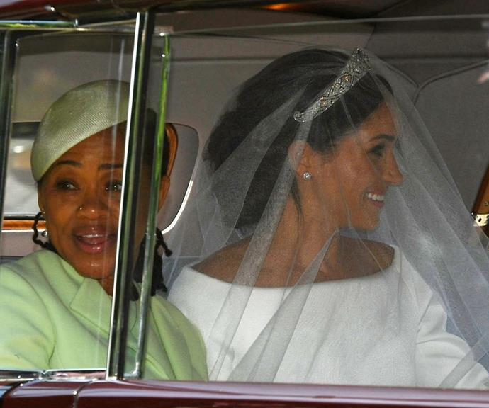 Meghan Markle and her mum Doria on her wedding day.
