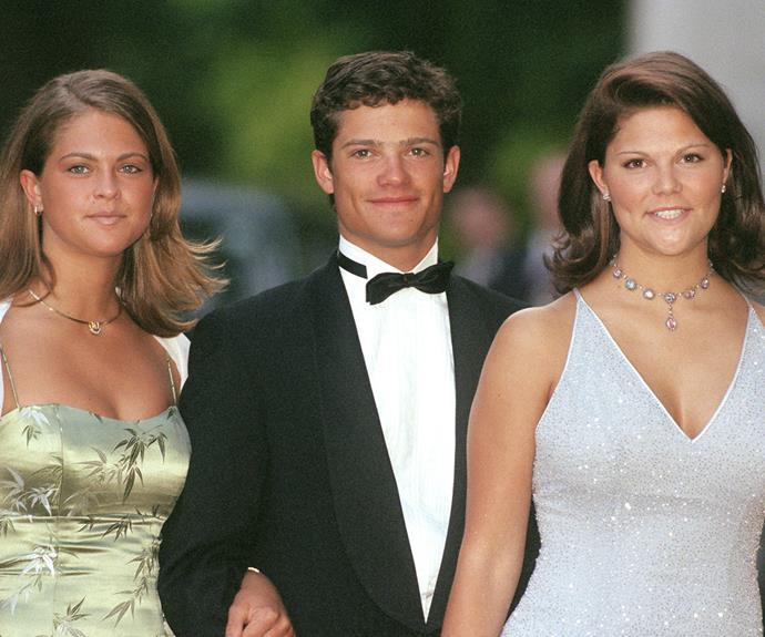 As he got older, he only got more dashing - of course, his sisters were equally beautiful. Here he accompanied Princess Madeleine (left) and Crown Princess Victoria (right) to an event in 1999.
