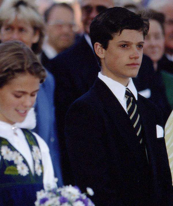 The young prince's good looks were apparent from the start, as seen in this photo from 1994, when Carl was just 15.