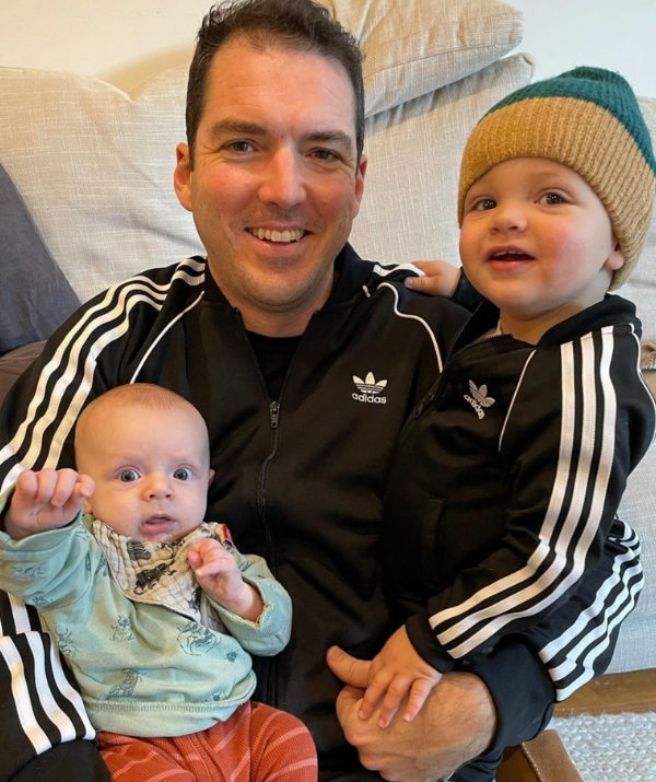 """Sylvia Jeffreys shared a touching tribute to her husband and father-of-two, Peter Stefanovic. <br><br> """"Happy Father's Day to Oscar and Henry's fun, devoted Dad,"""" she wrote. """"Our boys are so lucky. And to my Dad, who thankfully got to hold his lookalike Grandson before borders shut again. Love to all the loving Dads."""""""