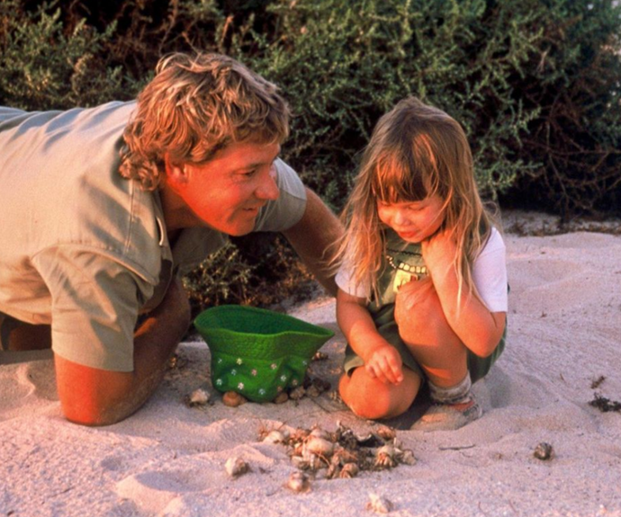 """Bindi also shared a photo with her late father, Steve Irwin. <br><br> """"I wish with all my heart that Dad could hug my beautiful girl,"""" she wrote in the caption. """"It's been 15 years since he passed away. I hold on to the thought that he's her guardian angel now, watching over the most special part of my life, Grace Warrior."""""""