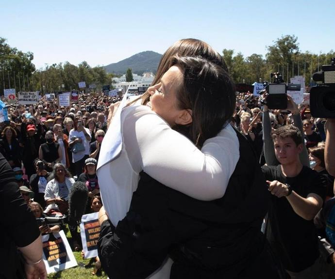 Lisa Wilkinson shared an embrace with Brittany during the March4Justice protests.