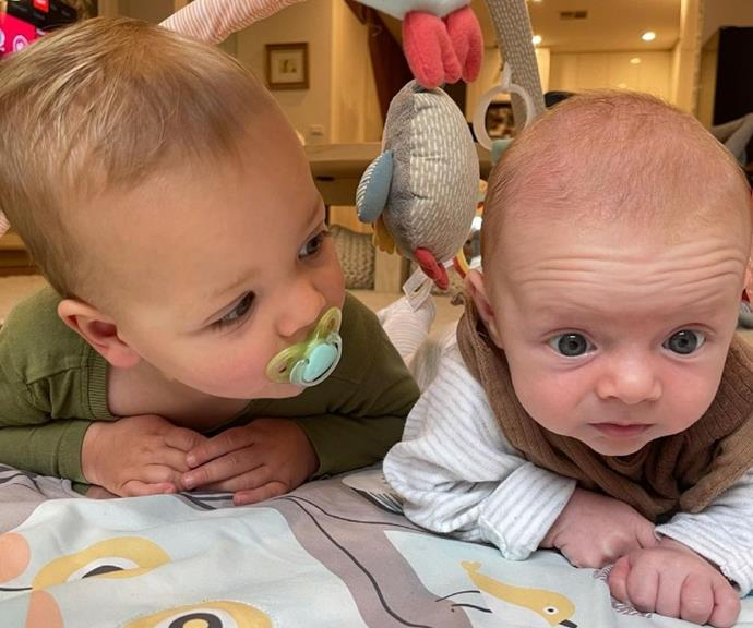 """Sylvia captioned this cute moment, """"Henry and his Tummy Time Coach / Dummy Thief 🥰."""""""
