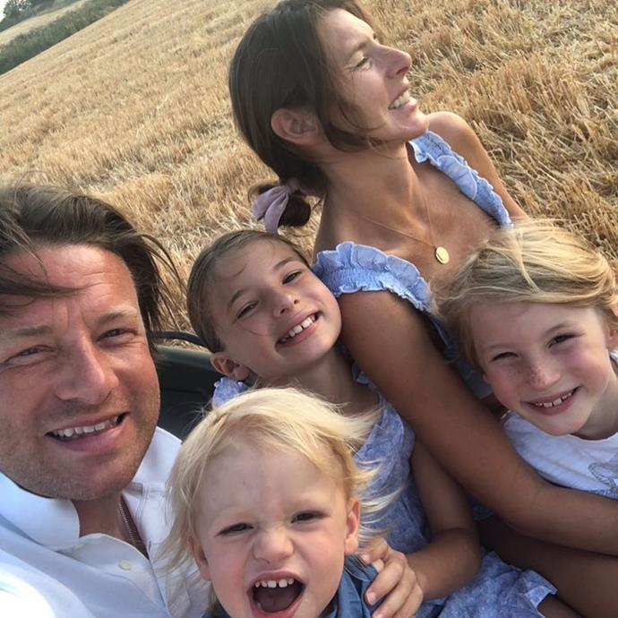 Jamie Oliver with wife Jools and three of their beautiful children.