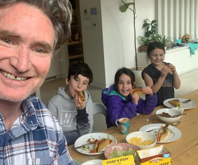 Dad to the rescue! With Holly at work, Hughesy stepped up to make the kids a taco dinner.