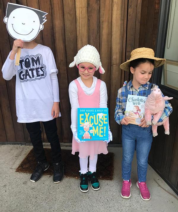 """Too cute! Dave shared this snap of his kids dressed up for book week with the caption: """"Sadie's idea to go as her mum and dad's book character Martha May."""""""