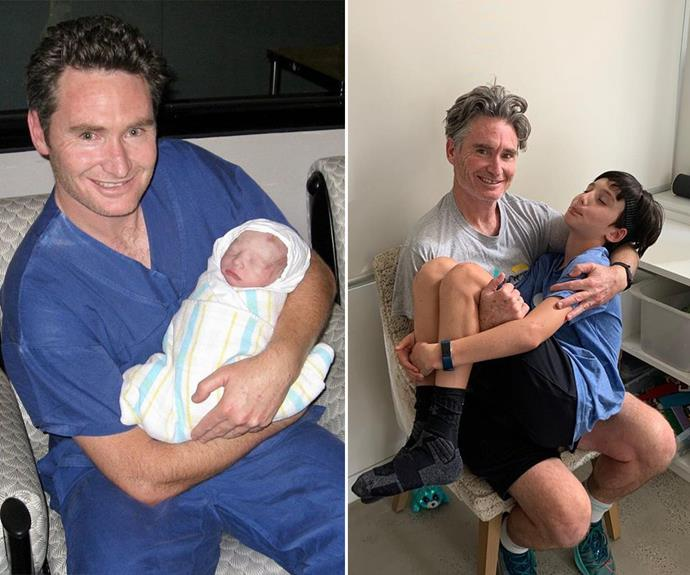 """Hughesy shared this hilarious photo recreation for Rafferty's 11th birthday, captioning it: """"Then and now. The times we've had. My best little man not so little anymore but still loves cuddles and laughs. Happy 11th birthday Raff."""""""