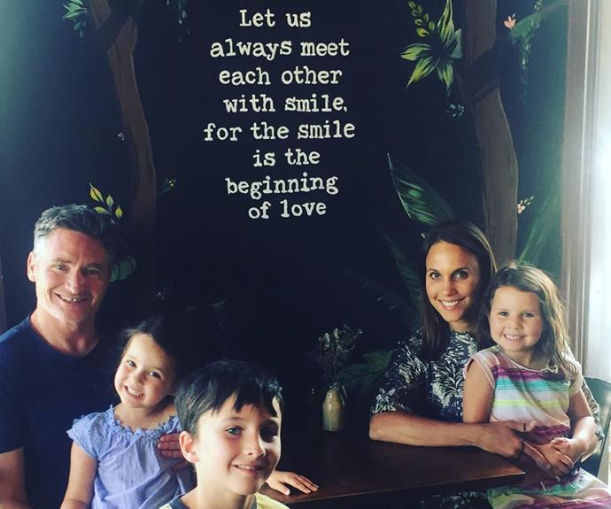 """Dave and Holly make a dreamy parenting duo, and he makes sure to pay tribute to his wife regularly. He captioned this sweet family snap: """"Birthday brunch for brilliant bride. The quote on the wall reminds me of first laying eyes on her almost fifteen years ago."""""""