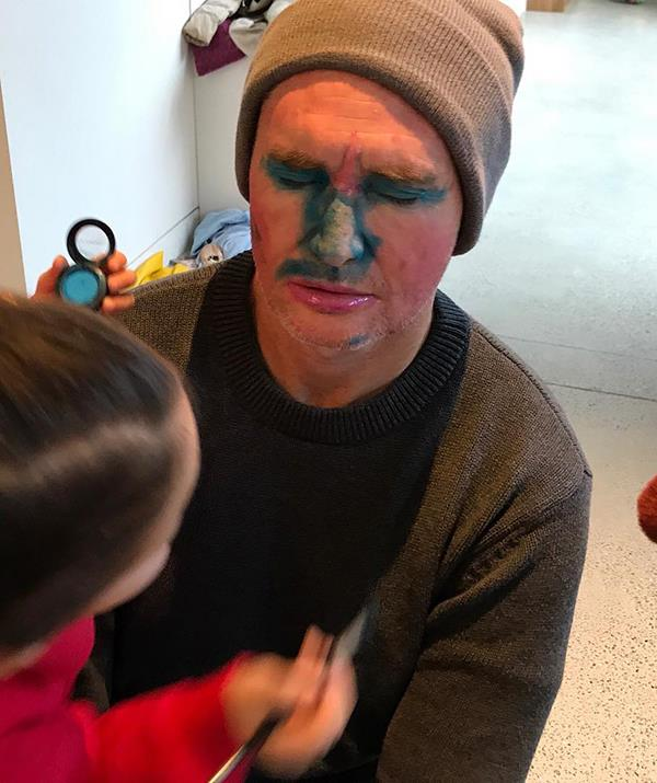 """Ah yes, the life of a 'girl dad'. Hughesy shared this snap of his daughters giving him a makeover witht the caption: """"Close your eyes Dad, it will be great."""""""