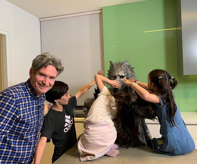 Rafferty, Sadie, and Tess try to unmask a *Masked Singer* contestant during a visit to the set with their dad.