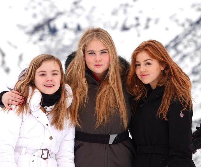 **Princesses Catharina-Amalia, Alexia and Ariane of the Netherlands** <br><br> Amalia, 17 (centre), Alexia, 16 (right), and Ariane, 14 (left), are the daughters of King Willem-Alexander and Queen Maxima of the Netherlands. The three girls have been raised as traditional royals, with Amalia working closely with her father as his heir. Alexia just recently left the Netherlands to continue her schooling in the UK for two years.