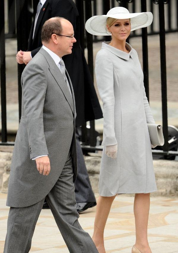 **Prince Albert II and Princess Charlene of Monaco attending Prince William and Kate Middleton's wedding** <br><br> Princess Charlene radiated casual chic in her unique dusty blue dress and hat.
