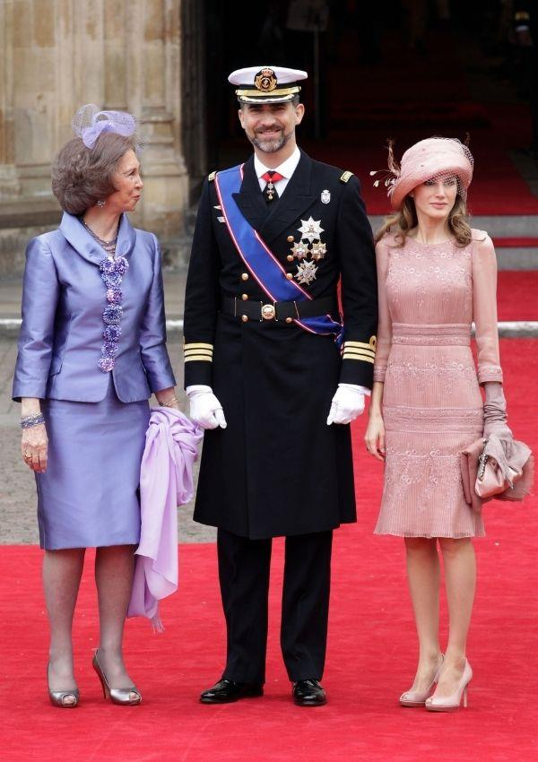 **Queen Sofia, King Felipe and Queen Letizia of Spain attending Prince William and Kate Middleton's wedding** <br><br> The Spanish royals looked as glamorous as ever at the 2011 wedding. Queen Letizia, a princess at the time, was already serving the gorgeous looks we know her for today.
