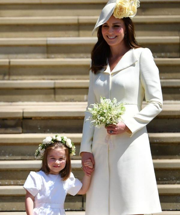 **Kate Middleton and Princess Charlotte attending Prince Harry and Meghan Markle's wedding** <br><br> These two are the most gorgeous wedding pair.
