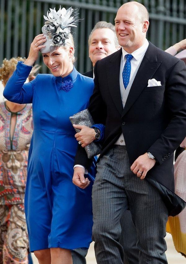 **Zara Tindall and Mike Tindall attending Princess Eugenie and Jack Brooksbank's wedding** <br><br> Zara's rich blue dress matched her husband's tie in the same colour.