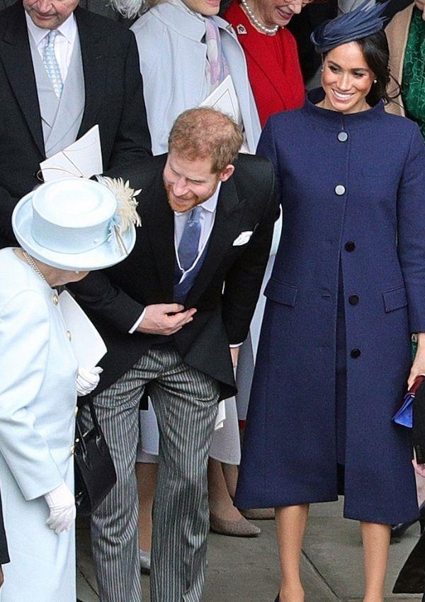 **Queen Elizabeth II, Prince Harry and Meghan Markle attending Princess Eugenie and Jack Brooksbank's wedding** <br><br> One of the rare occasions Meghan and Prince Harry attended a royal wedding together before stepping back from their duties.