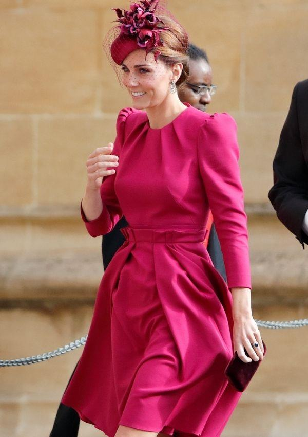**Kate Middleton attending Princess Eugenie and Jack Brooksbank's wedding** <br><br> Kate Middleton wore this magenta dress to the wedding, and we hope she starts wearing this colour more because it's perfect on her.