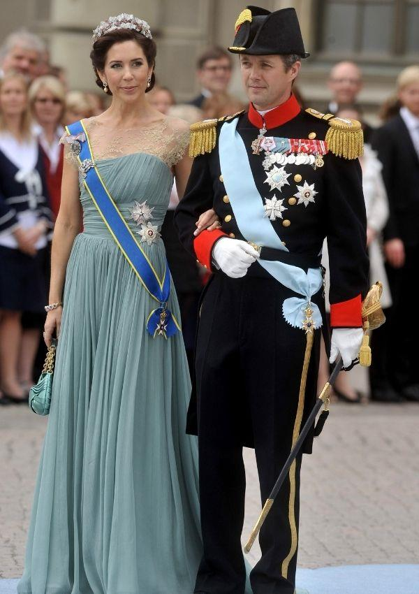 **Princess Mary and Prince Frederik of Denmark attending Princess Victoria of Sweden and Daniel Westing's wedding** <br><br> Princess Mary's dress for the 2010 wedding was made for royalty to wear.