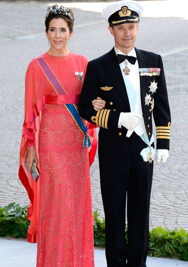 **Princess Mary and Prince Frederik of Denmark attending Princess Madeleine and Christopher O'Neill's wedding** <br><br> Princess Mary looked exquisite in her coral gown and her matching blush.