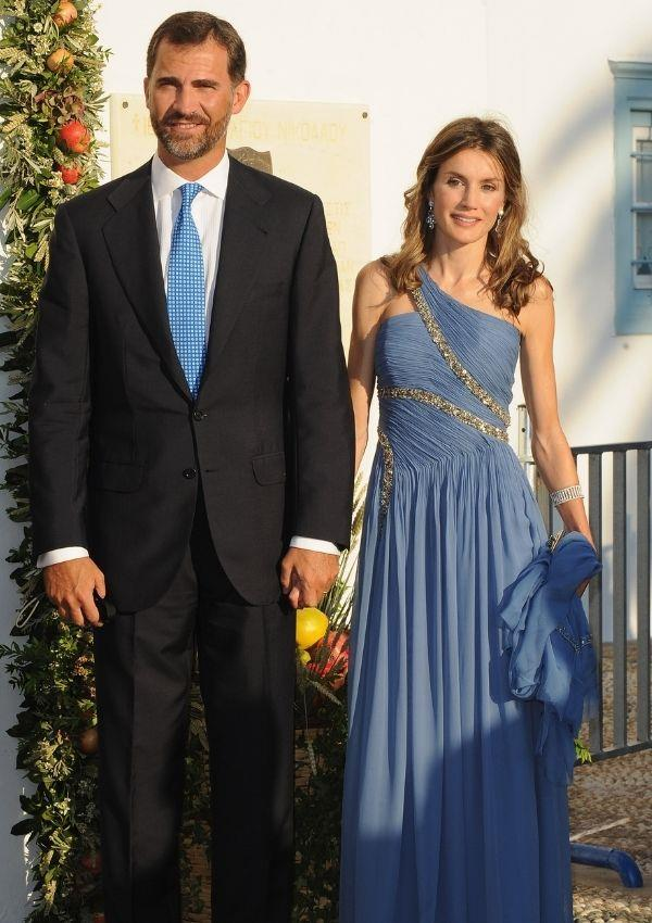 **Queen Letizia and King Felipe of Spain attending Prince Nikolaos of Greece and Denmark and Tatiana Blatnik's wedding**  <br><br> Queen Letizia looked impeccable in this Oscar-worthy gown.