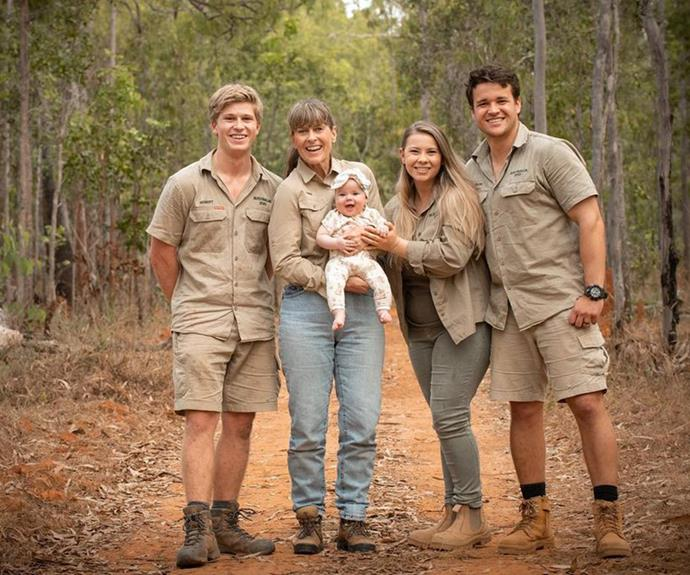 """Bindi shared this gorgeous family snap with a caption inspired by none other than Winnie the Pooh, writing: """"Sometimes, the smallest things take up the most room in your heart."""""""