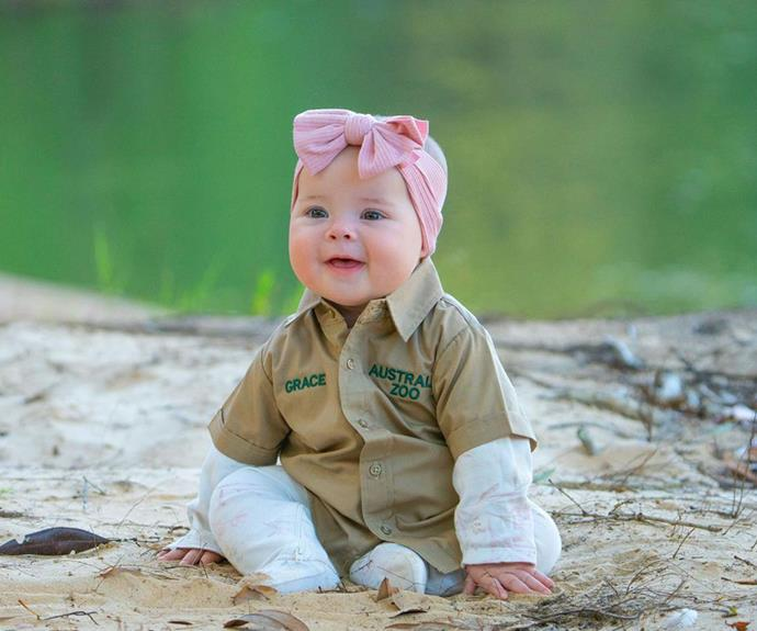 """Little Grace donned her very own Australia Zoo shirt during her trip to the Steve Irwin Wildlife Reserve with her parents. Bindi also revealed that her baby girl knows her late grandfather, Steve Irwin, by the sweet name """"Grandpa Crocodile""""."""