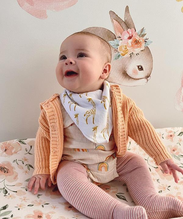 """How does Grace just keep getting cuter? Bindi shared this darling snap of her daughter with the fitting caption: """"My little ray of sunshine. 🌈🦒🐰🌸"""""""