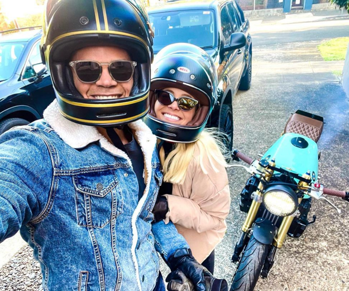 Jimmy shared a happy snap with his two favourite girls - his motorbike Tiffany and new girlfriend Holly.