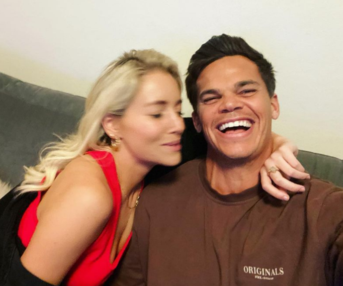 """Their first photo - outside of the official shots from *The Bachelor* - was a candid selfie. And a cute one, at that. <br><br> [Jimmy](https://www.nowtolove.com.au/reality-tv/the-bachelor-australia/who-is-jimmy-nicholson-66966