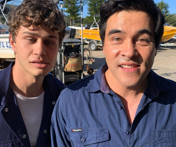 The boys look like old friends as they goof off between takes.