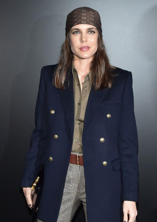 Charlotte wore 2020's biggest accessory, the headscarf, to Saint Laurent's fashion show in 2020. Even though she has paired clashing patterns together, the outfit is perfectly cohesive and sartorially relevant.