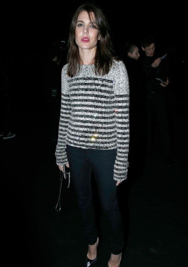 Charlotte wore this classic Parisian striped jumper with a metallic twist to Saint Laurent's 2018 show.