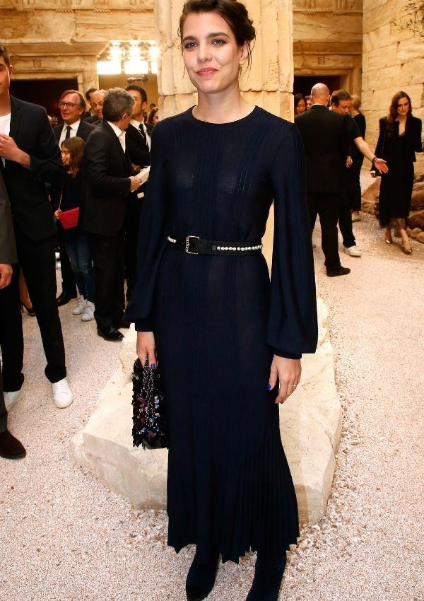 Charlotte has a long relationship with Chanel, and for the brand's cruise show in 2017, she kept it classic with this sheer panel black dress.