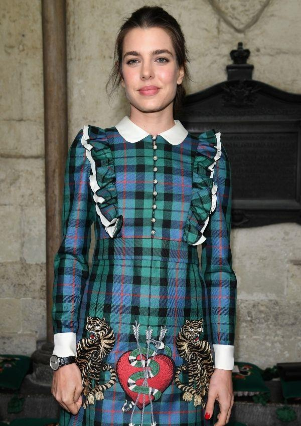 She's a Gucci gal at heart! The European fashionista wore this grungy plaid number to watch the brand's 2016 cruise show at the Cloisters of Westminster Abbey.