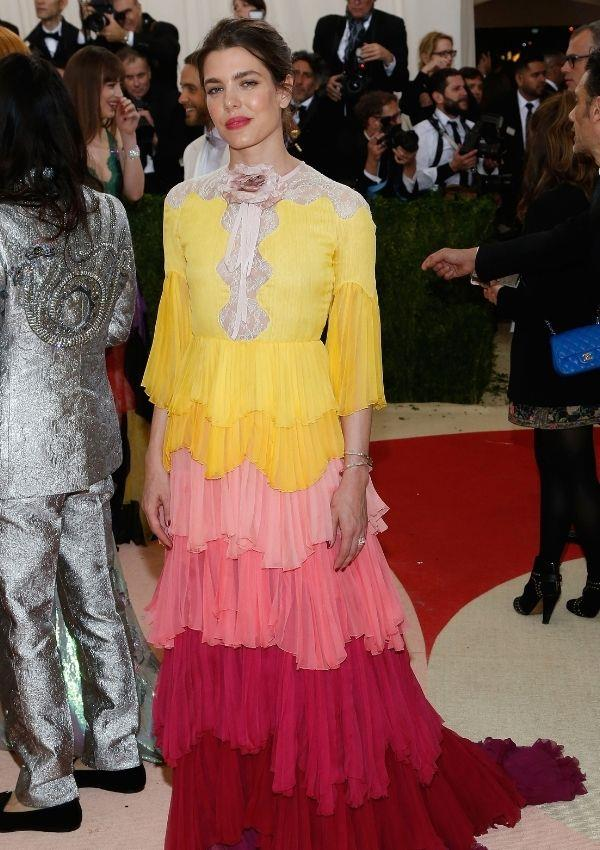 Charlotte wore this colourful couture creation by Gucci to the *Met Gala's Manus x Machina: Fashion in an Age of Technology* in 2016. It's a unique departure from her usual penchant for dark colours.