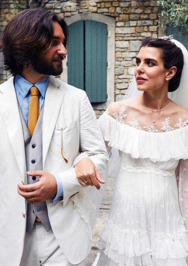 And the bride wore Giambattista Valli! Charlotte donned a bespoke lace creation that lives in our minds rent-free to marry her husband, Dimitri Rassam.