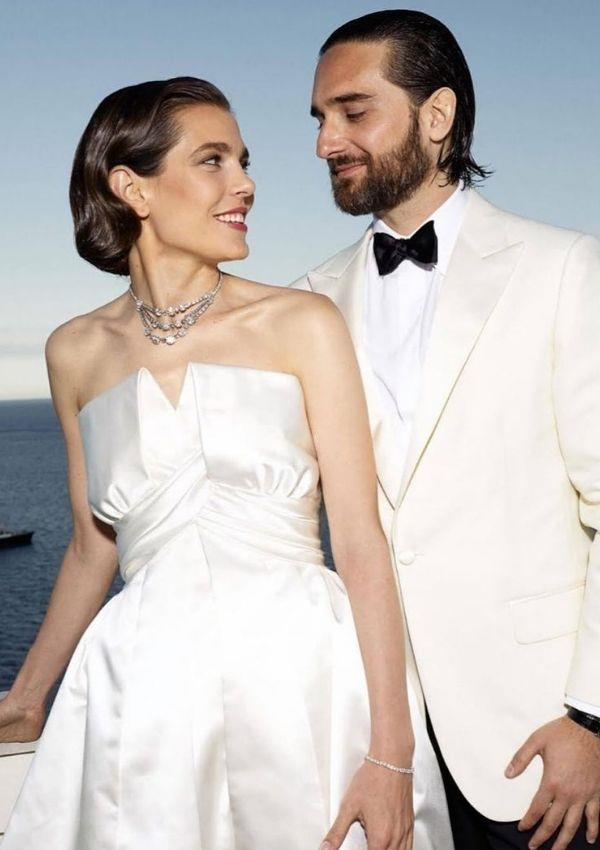 For her second dress, Charlotte wore this strapless satin Chanel creation.