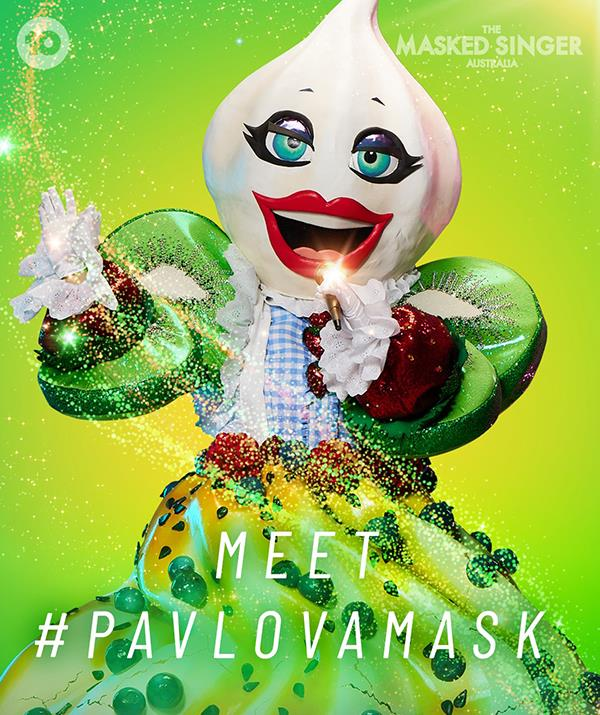 """**Pavlova** <br> **Episode one:** """"I'm the pavlova. Crusty on the outside but tender inside. I love the kitchen, it's my happy place. Croissants, eclairs, gateau, vol au vents! If I can make baking a competitive sport I would. Mon Dieu! My dream came to me when I was young. I had a real talent and I haven't stopped since. <br><br> """"How do I keep my gorgeous pavlova figure? Don't ask. What I'll say is that when push comes to shove, I manage. I spent a lot of my childhood down south in the hills. I'm Pavlova and tonight's going to be sweet!"""" <br><br> **Episode three:** """"Hi everyone! I'm Pavlova and isn't this fun? I don't believe in discrimination. Every sweet matters. Not just sweets. I also love gumnuts, yummy. Have I been on Broadway? Almost but not quite. But I've had my ups and downs. Who cares? I'm happy with who and where I am. A great pavlova is gonna take time. Just accept it. You don't want to peak too soon. I'm Pavlova and all I want is my just desserts."""" <br><br> **Episode five:** """"I'm Pavlova and I think you're all sweet on me! You can take it as gospel, that I'm the boss of my kitchen. And across the ditch too. I pour my heart and soul into what I do. Twenty-one grams? It has to be more than that. <br><br> """"Some see me as a warrior, others see me as a storekeeper. I'm betting on the warrior. Be good or I'll make you sleep outside. Does this sugar dissolve in water? I've proved that I don't. Everyone knows I come from tougher stuff than that. I'm Pavlova – and I'm looking sweet for another victory tonight."""" <br><br> ***She was unmasked in episode five - [see who it was](https://www.nowtolove.com.au/reality-tv/the-masked-singer/masked-singer-australia-2021-celebrities-69064 target=""""_blank"""")!***"""