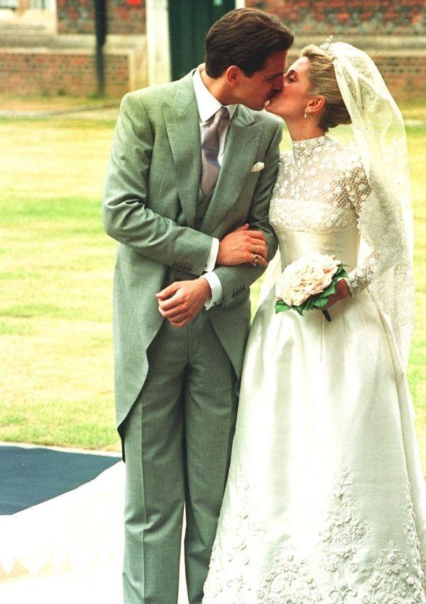 **Marie-Chantal Miller**  <br><br> For her wedding to Prince Pavlos of Greece, Marie-Chantal's dress shared Grace's quintessential high lace neckline and round skirt.