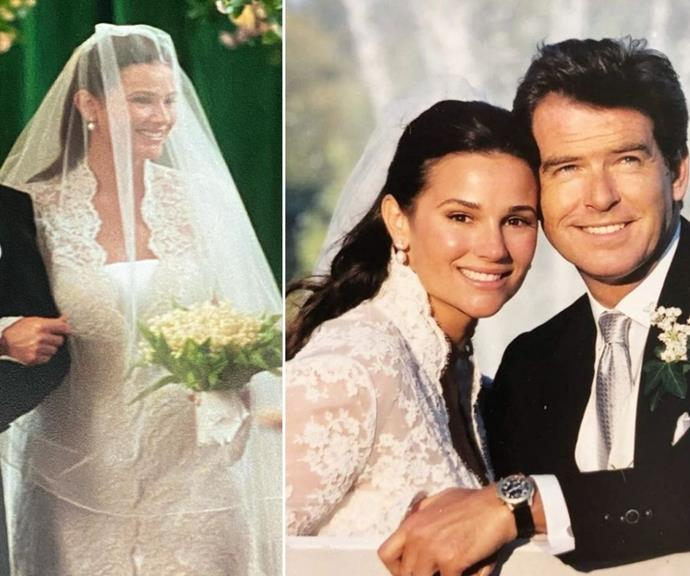 **Keely Shaye Brosnan** <br><br> For Keely's wedding to Pierce Brosnan, she emulated Grace's low V lace neckline.