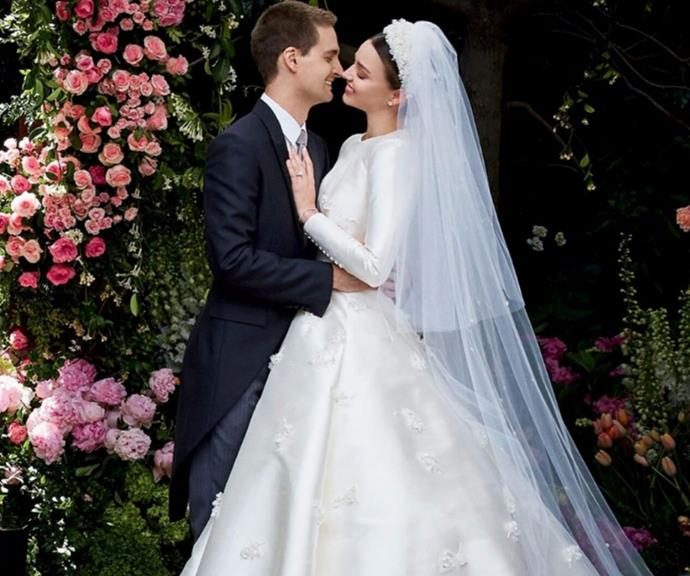 """**Miranda Kerr** <br><br> During an interview with *[Vogue](https://www.vanityfair.com/style/2017/07/miranda-kerr-grace-kelly-dior-wedding-dress target=""""_blank"""")* at her final fitting with Dior's Maria Grazia Chiuri, Miranda explained who inspired her dress. <br><br> """"I've had a lot of fun with fashion, and I used to be more wild, free, bohemian. But in this period of my life, my style is more pulled back,"""" she told the publication.  <br><br> """"My greatest sources of inspiration have always been Grace, Audrey Hepburn, and my grandmother, who at 80 has an effortless chic: a nice pant, a white blouse, a scarf, a little heel."""""""