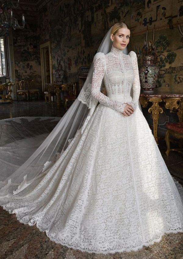 """**Kitty Spencer**  <br><br> Kitty's Dolce and Gabbana [wedding dress](https://www.nowtolove.com.au/royals/british-royal-family/lady-kitty-spencer-wedding-dress-68475 target=""""_blank"""") had a very regal take on the original lace bodice."""