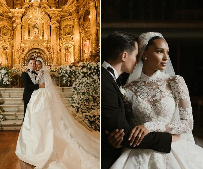 **Jasmine Tookes** <br><br> The former *Victoria's Secret* angel wed her Snapchat Intentional Markets Director husband, Juan David Borrero, in a stunning custom made Zuhair Murad dress. <br><br> On the models Instagram, she shared a black-and-white picture of Grace with the word 'Inspo' over the top.