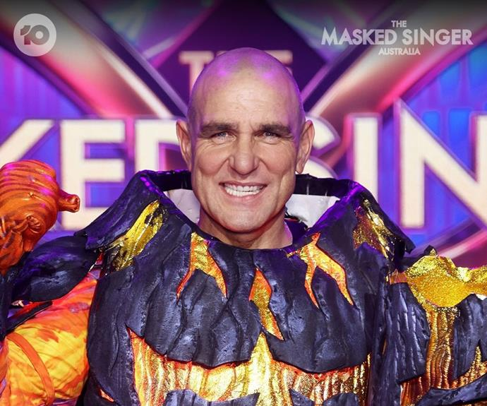 **Volcano: Vinnie Jones** <br><br> After a powerful rendition of *I'm Gonna Be (500 Miles)* by The Proclaimers, actor Vinnie Jones became the first celebrity to be unmasked this season. Known for his roles in *Snatch, She's The Man*, and more, none of the judges managed to guess his identity.  <br><br> Dannii insisted it was Sacha Baron Cohen under the volcano mask, while Hughesy suggested it may have been actor Christian Bale.