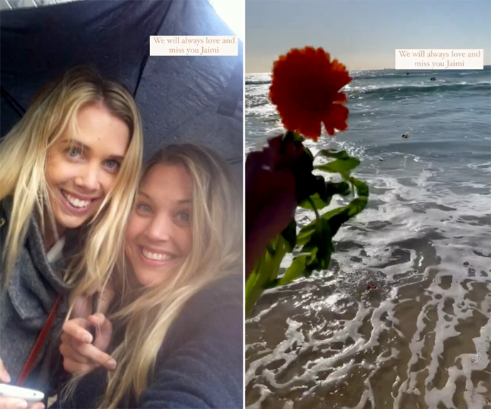 """**Morgan Gruell** <br> Jaimi's younger sister Morgan shared a video tribute as well, putting together a slideshow of photos under the caption: """"We will always love and miss you Jaimi"""". Morgan also included a clip from the beach where she and other members of the family spread flowers in the ocean in Jaimi's memory on Tuesday morning. <br><br> She captioned the Instagram tribute: """"Remembering Jaimi, one year on 💕"""""""