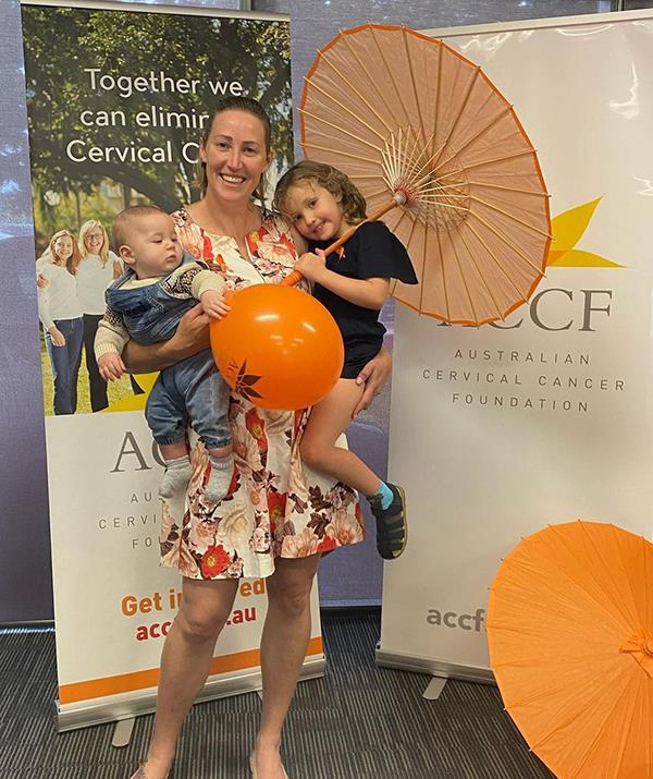 Jemima, four, and little Charles already share an unbreakable bond. The pair are pictured with their mum at a cervical cancer charity event.